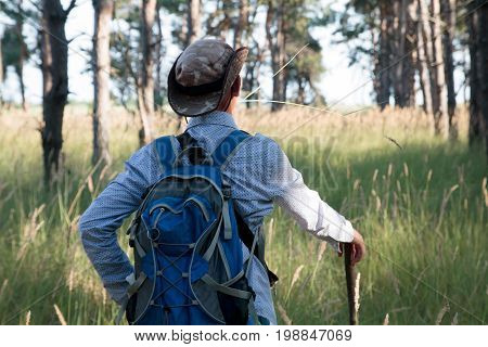 Adolescent In Hat With Backpack And Stick Stands In The Pine Forest. Summer Time.
