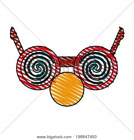crazy glasses with round nose funny or joke item icon image vector illustration scribble
