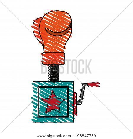 surprise box with boxing glove funny or joke item icon image vector illustration scribble
