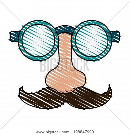 groucho marx glasses funny joke item icon vector illustration scribble