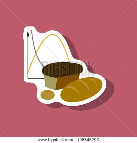 paper sticker on stylish background Bread chart