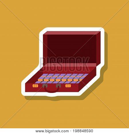 paper sticker on stylish background Case of money