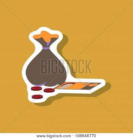 paper sticker on stylish background bag with money