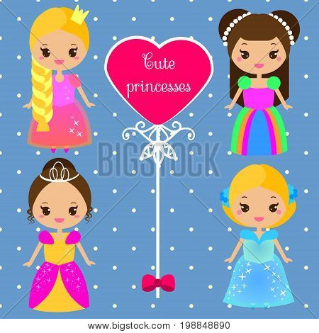 Cute princesses in colorful dresses in kawaii style. Girls in queen costumes. Vector collection of cartoon female characters.