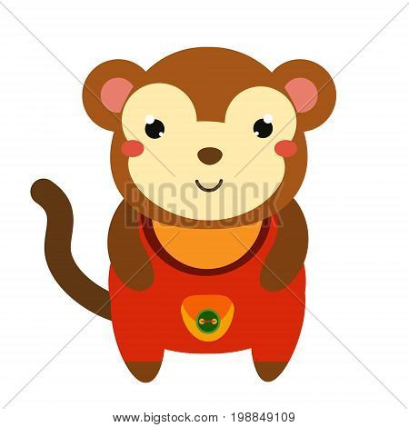 Cute monkey in red jumpsuit. Cartoon kawaii animal character. Vector illustration for kids and babies fashion.