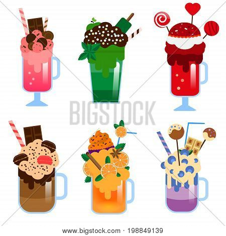 Monster shakes vector set. Giant milkshakes. Freaky sweet shakes in glasses and jars. Isolated icons for menu
