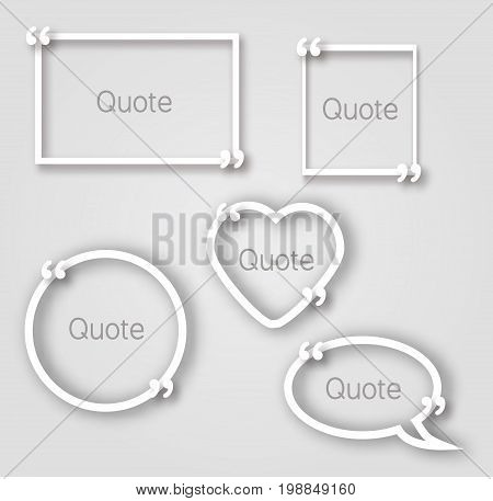 White quote bubble paper frames in realistic style. Paper frame templates with commas in different shapes circle, heart, rectangle