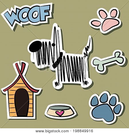 Funny Dog and grooming accessory sticker set