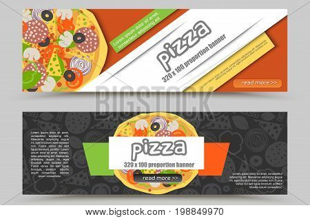 Cartoon Pizza Pizzeria Flyer Vector Background. Two Horizontal Pizza Web Banner With Ingredients And