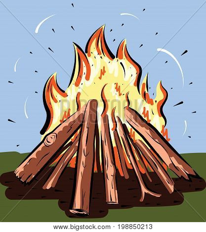 Vector illustration of burning bonfire with wood. Camping fire background.