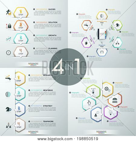Set of 4 infographic design templates. Four diagrams with white paper polygonal bookmarks, icons and text boxes. Steps and features of business development. Vector illustration for website, banner.
