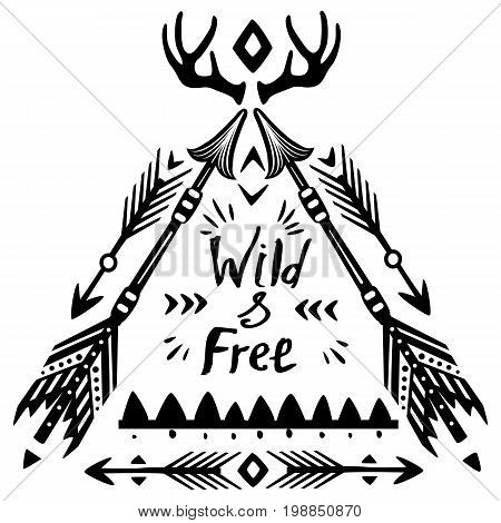 Hand drawn Wild Free inspirational lettering with ethnic arrows and feathers