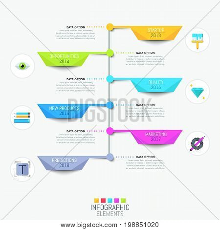 Modern infographic design template with vertical timeline and 6 multicolored elements with year indication. Annual startup progress concept, design company development steps. Vector illustration.