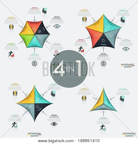 Set of 4 infographic design layouts. Polygonal diagrams, pie charts with 3, 4, 5, 6 colorful sectoral elements, icons and text boxes. Vector illustration for presentation, report, corporate website.