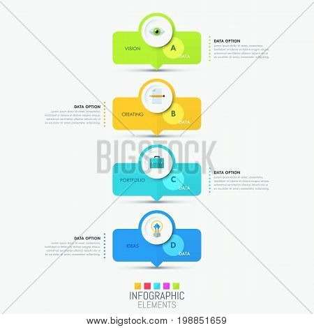 Modern infographic design template - 4 bright rectangle elements successively connected by arrows. Steps of idea creation concept. Vector illustration for banner, report, brochure, presentation.