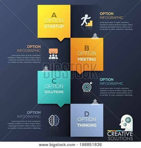 Modern infographic design template - 4 lettered colorful squares with arrows, icons and text boxes placed chequerwise. Four steps to achieve goal. Vector illustration for website, report, brochure.