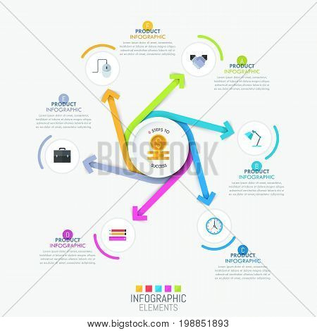 Creative infographic template - 6 multicolored spiral arrows pointing out of center, pictograms and text boxes. Six steps of digital design creation process concept. Vector illustration for website.