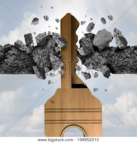 Key breakthrough concept and path to opportunity idea as a metal tool to open and breaking a wall as a business freedom icon with 3D illustration.