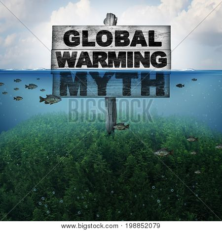 Global warming myth and climate change or extreme weather conditions concept and rising ocean due to hot weather and melting of the polar ice caps as a mountain under water flooded with 3D illustration elements.
