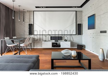 Home Interior With Projector Scree