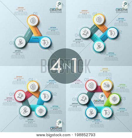 Collection of four creative infographic design layouts, diagrams with 3, 4, 5, 6 round numbered elements, thin line icons, arrows, text boxes. Steps of production concept. Vector illustration.