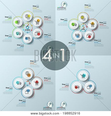 Bundle of four infographic design layouts, flower petal diagrams with 3, 4, 5, 6 circular elements, thin line icons, arrows, text boxes. Retail business cycle steps concept. Vector illustration.