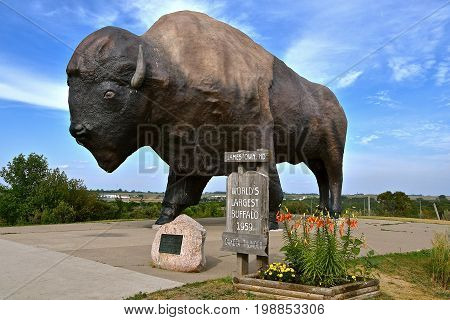 JAMESTOWN, NORTH DAKOTA, July 19, 2017: Dakota Thunder, the world's largest buffalo  designed by Elmer Petersen is located at the Jamestown, Frontier Village is located