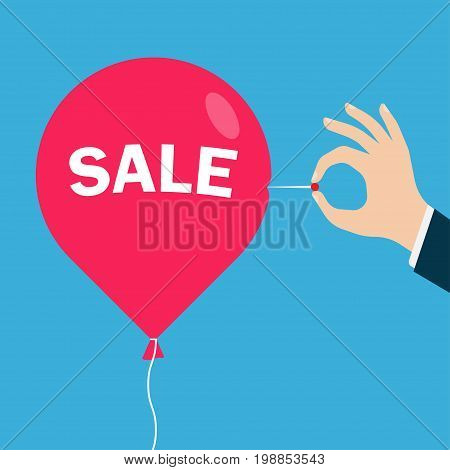 Man hand with a needle pierces the red balloon with an inscription Sale. Business concept. vector illustration