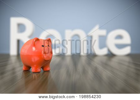 3d rendering of a piggy bank with the word pension in german language