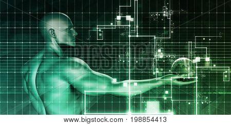 Digital Identity Management as New Technology Art 3D Illustration Render