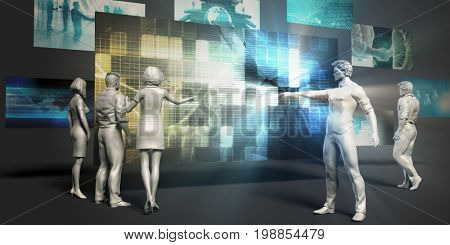 Disruptive Technology Concept with Virtual Presentation Background 3D Illustration Render