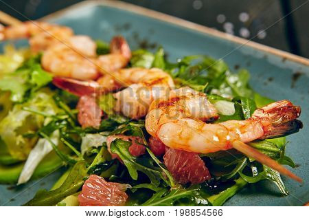 Skewered Shrimp and Avocado Salad with Grapefruit