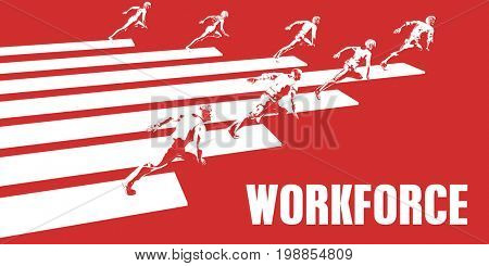 Workforce with Business People Running in a Path 3D Illustration Render