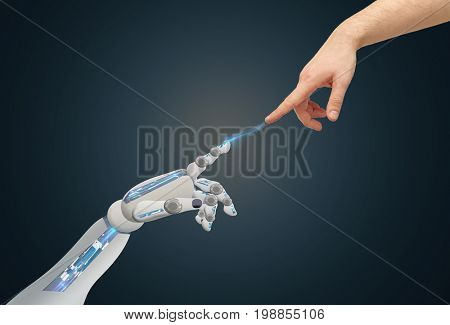 science, future technology and people concept - human and robot hands reaching to each other over blue background