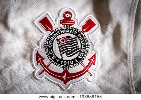 SAO PAULO, BRAZIL - CIRCA AUGUST 2017: Corinthians soccer logo on an official jersey.