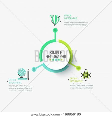 Simple infographic design template. Central circular element connected with three multicolored pictograms and text boxes. Opportunities of self-education concept. Vector illustration for website.