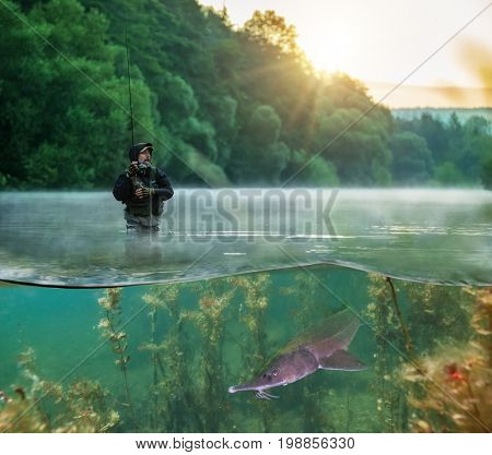 Fisherman trying to catch predator fish, half to half image mantage. utdoor fishing in river during sunrise. Hunting and hobby sport. Underwater life