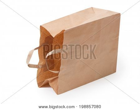 Paper bag with handle isolated on white