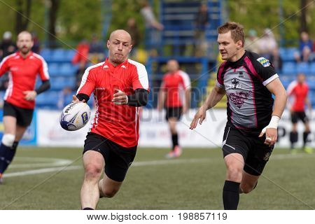 ST. PETERSBURG, RUSSIA - MAY 27, 2017: Match RC Livonia, Latvia vs RC Busly, Belarus during Rugby Europe Sevens Club Champion's Trophy. St. Petersburg hosts the trophy in 2nd time