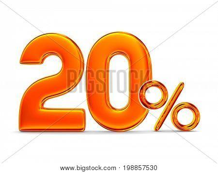 Twenty percent on white background. Isolated 3D illustration