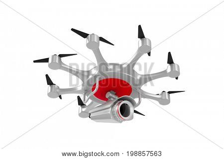octocopter with camera on white background. Isolated 3d illustration