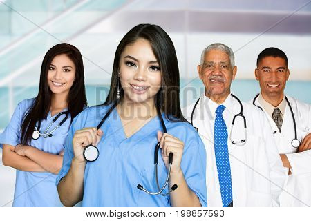 Medical team of doctors and nurses in a hospital