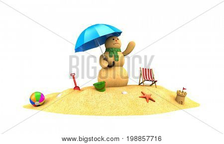 Snowman made of sand waiting for the rain. 3d illustration