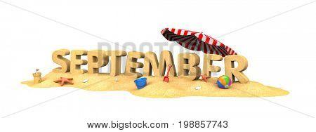 September - word of sand. 3d illustration