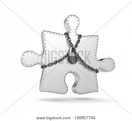 Steel puzzle entangled chains and closed on padlock. 3d illustration