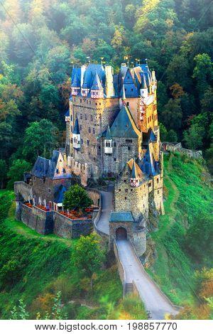 Burg Eltz - amazing romantic castle of Gemany, in early morning