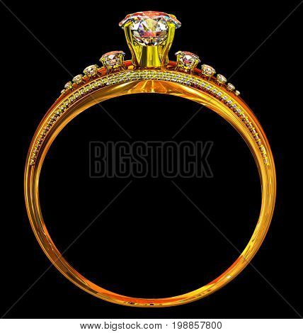 Engagement gold ring with diamond gem. luxury jewellery crystal bijouterie with gemstone for people in love . Frontal view on black background.3D rendering.