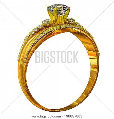 One engagement gold ring with gem. luxury jewellery bijouterie with gemstone for people in love . Large stone in center on high-grade gold. 3D rendering.