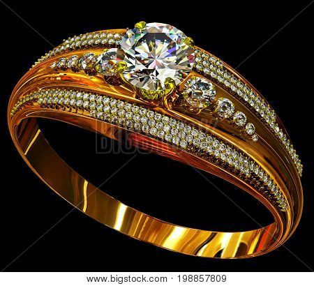 Engagement gold ring with large diamond gem. luxury jewellery bijouterie with group small gemstone for people in love . Frontal view on black background. 3D rendering.