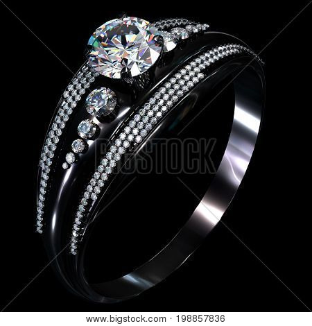 Black gold engagement ring with diamond gem. Luxury jewellery bijouterie with rhodium or ruthenium coating with gemstone on black background. 3D rendering.
